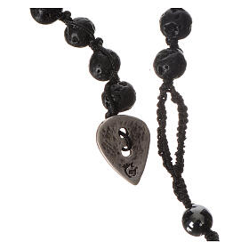 Collana Rosario in pietra lavica ed ematite 6 mm s3