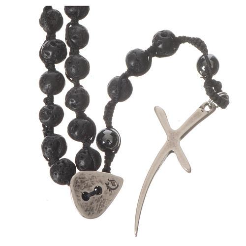 Collana Rosario in pietra lavica ed ematite 6 mm 1
