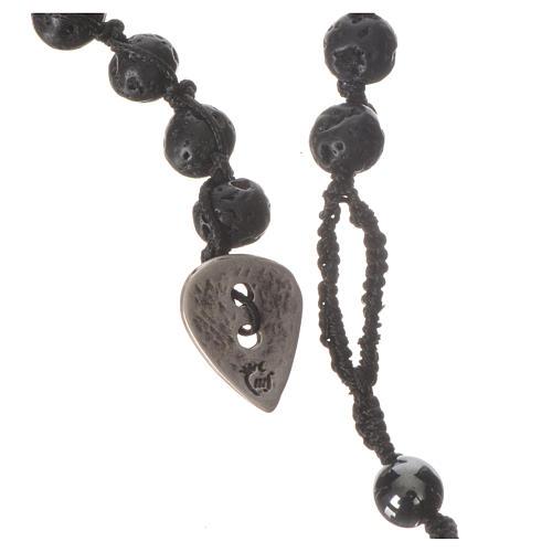 Collana Rosario in pietra lavica ed ematite 6 mm 3