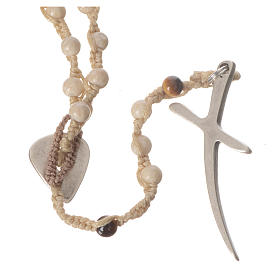 Rosary necklace in fossil stone 4mm s2