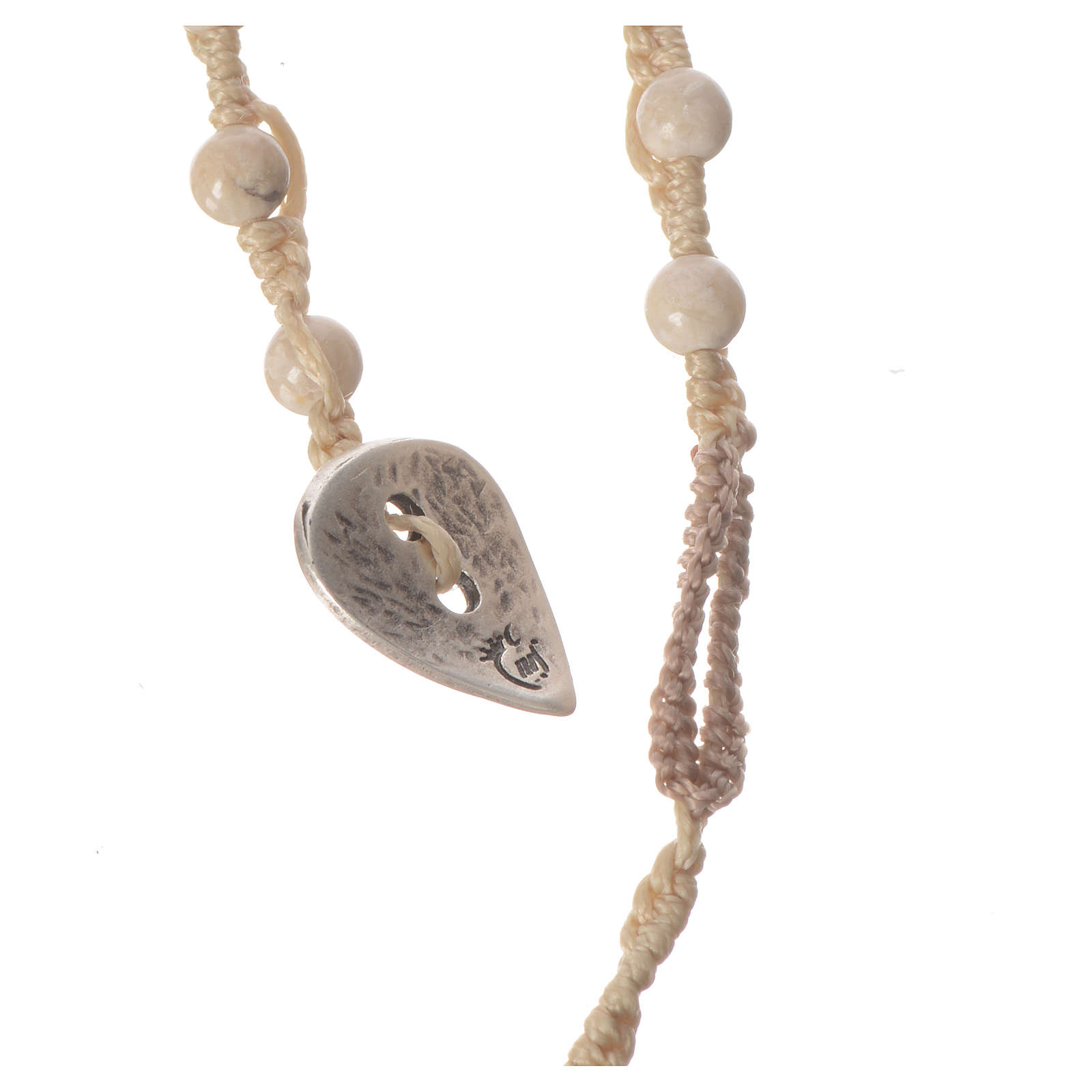 Collier chapelet en pierre fossile 4mm 4