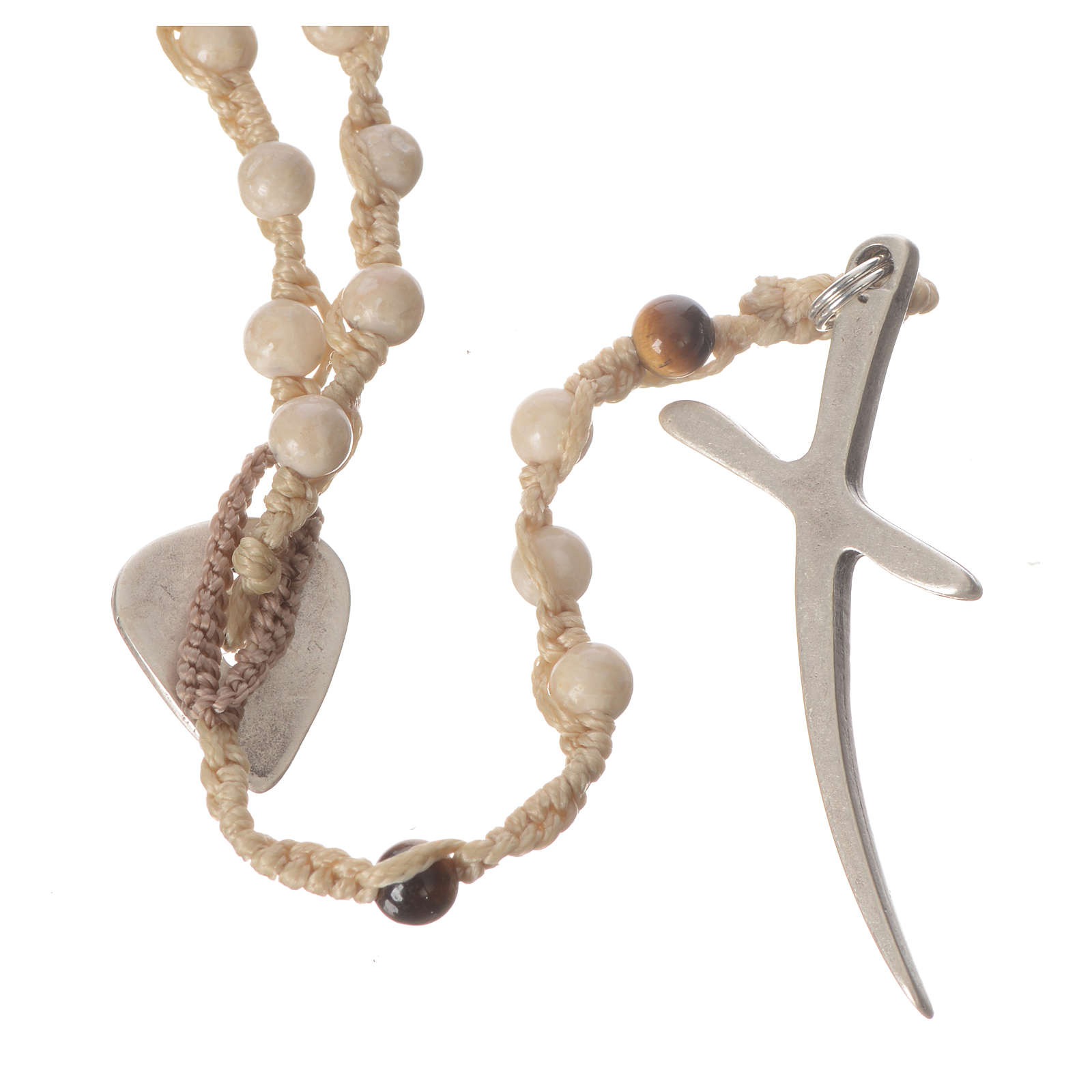 Rosary necklace in fossil stone 4mm 4