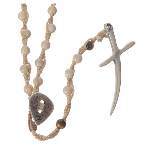Rosary necklace in fossil stone 4mm 1