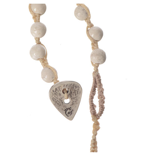 Rosary necklace in fossil stone 6mm 7