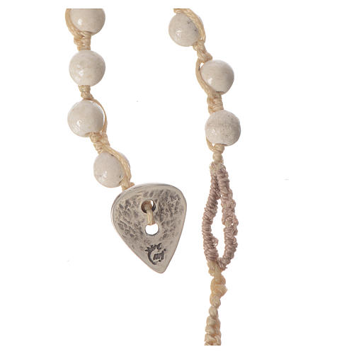 Rosary necklace in fossil stone 6mm 4