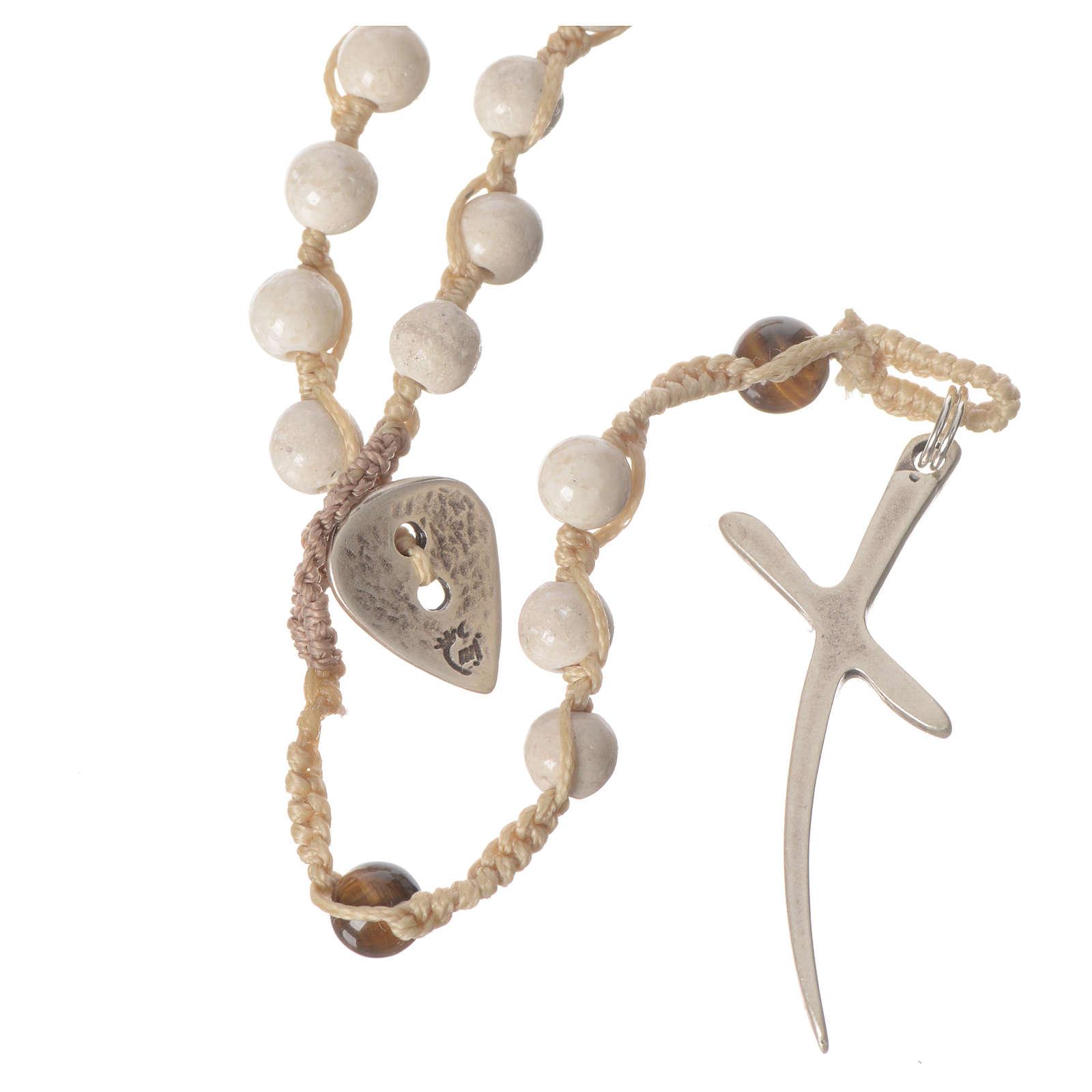 Collar rosario de piedra fósil 6 mm 4
