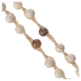 Collar rosario de piedra fósil 6 mm s8