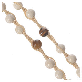 Collar rosario de piedra fósil 6 mm s3