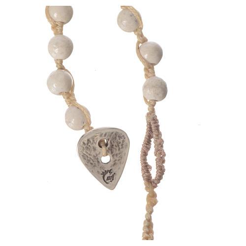 Collar rosario de piedra fósil 6 mm 7