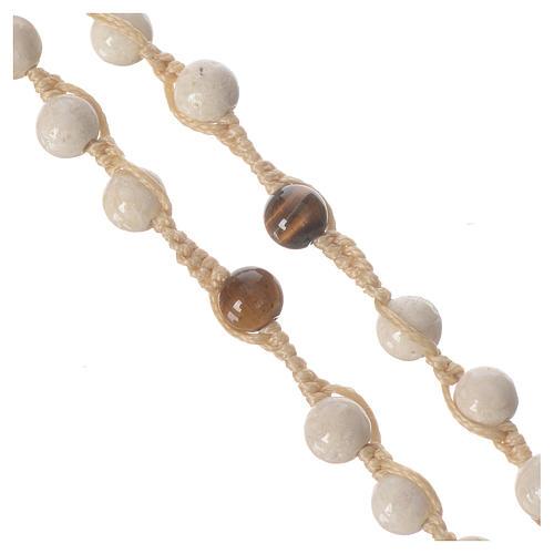 Collar rosario de piedra fósil 6 mm 3