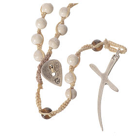 Rosary necklace in fossil stone 6mm s1