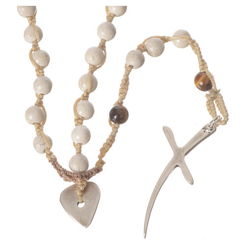 Rosary necklace in fossil stone 6mm 5