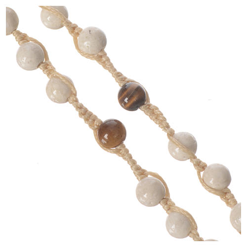 Rosary necklace in fossil stone 6mm 8