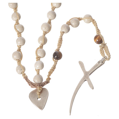 Rosary necklace in fossil stone 6mm 2
