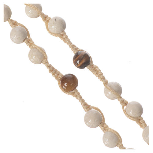 Rosary necklace in fossil stone 6mm 3