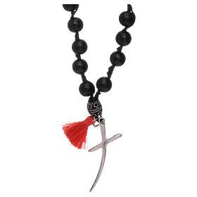 Collar rosario madera y plata cuentas 8 mm s2