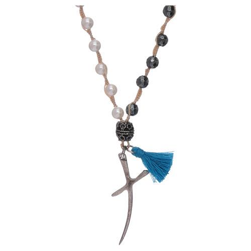 Collar rosario nácar y cruz plata cuentas 6 mm 1