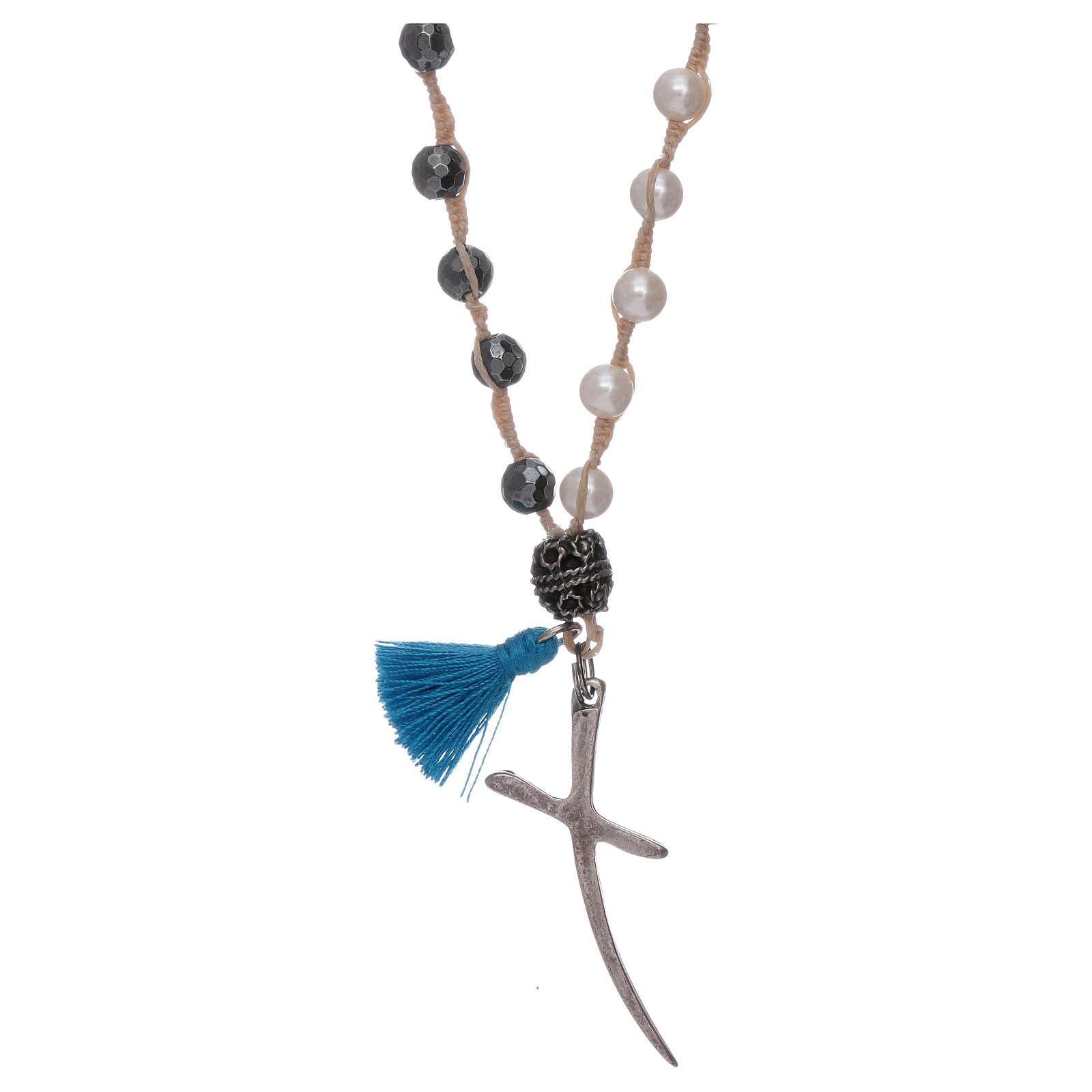 Collier chapelet nacre et croix argent grains 6 mm 4