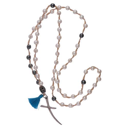 Collier chapelet nacre et croix argent grains 6 mm 3