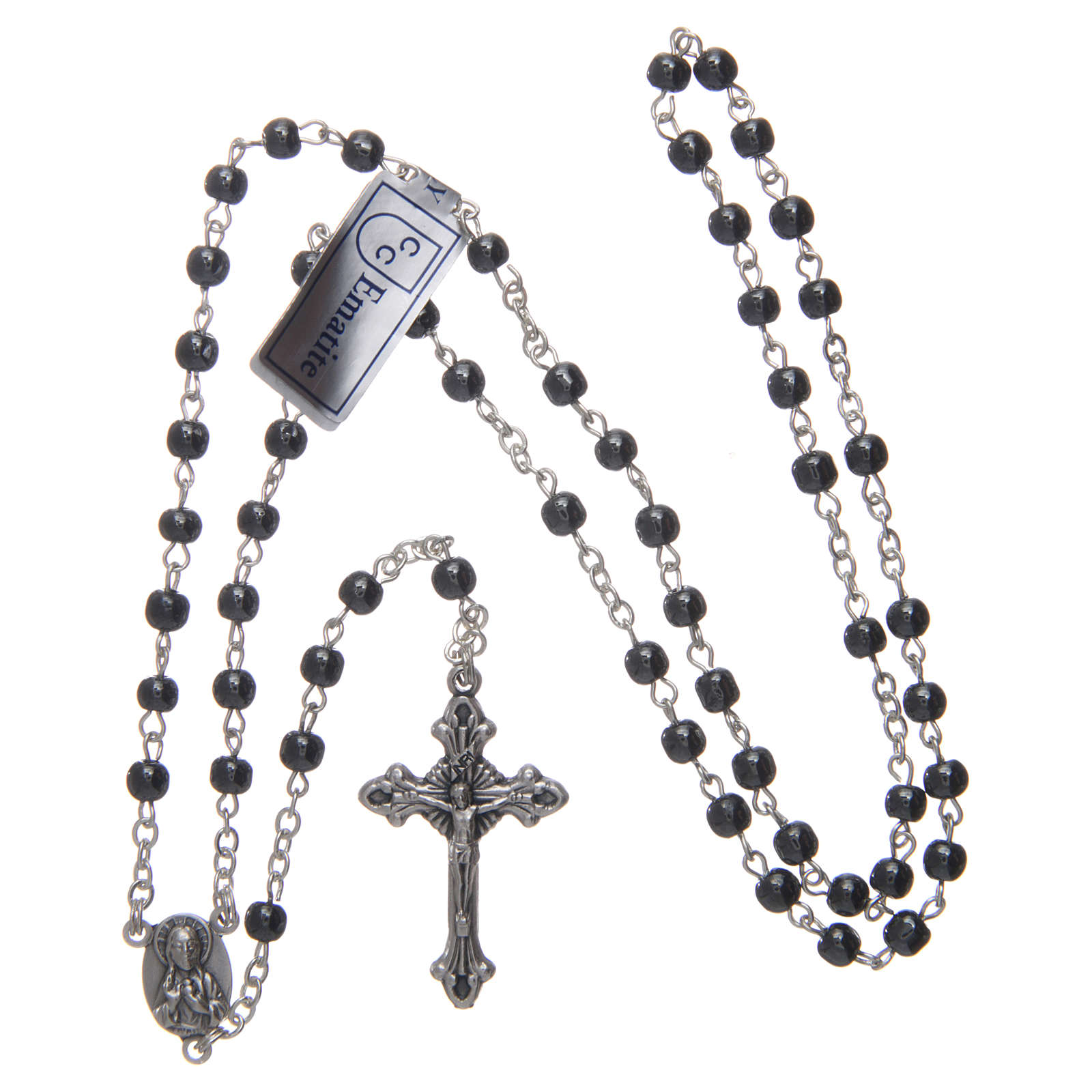 Rosary in real hematite black with silver cross 4
