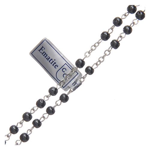 Rosary in real hematite black with silver cross 3