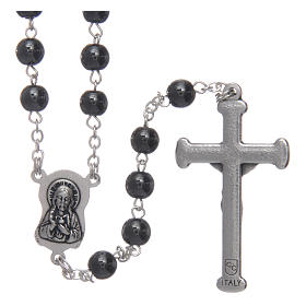 Silver rosary with real hematite grains s2