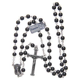 Silver rosary with real hematite grains s4
