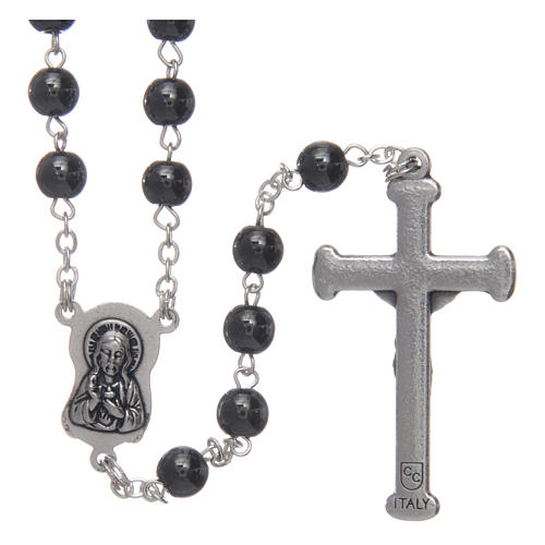 Silver rosary with real hematite grains 2