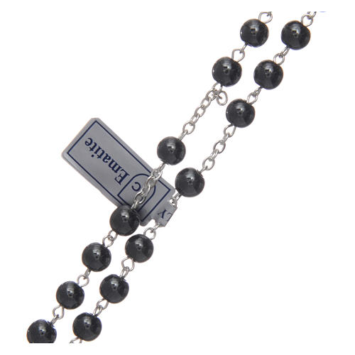 Silver rosary with real hematite grains 3