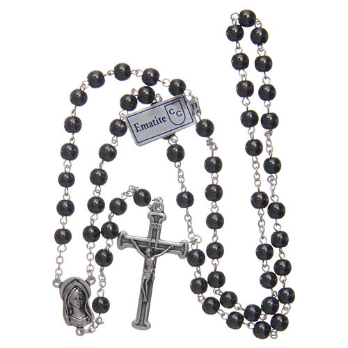 Silver rosary with real hematite grains 4