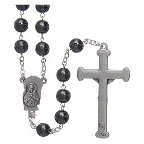 Rosary in hematite with silver cross s2