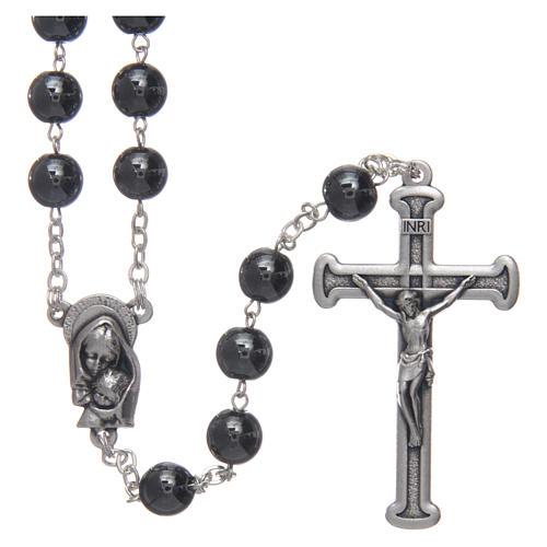 Chapelet en hématite avec croix argentée 1