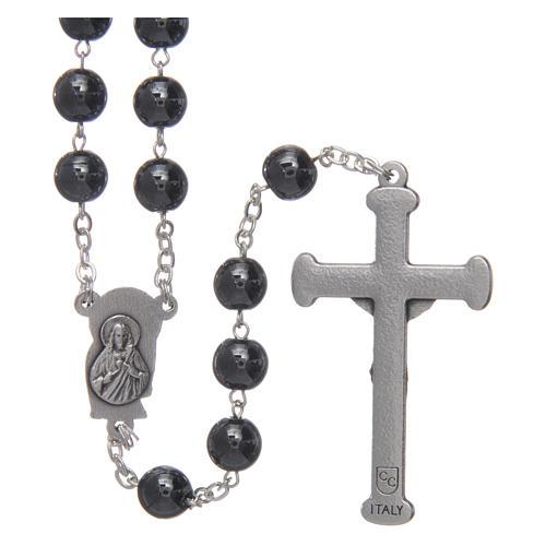 Chapelet en hématite avec croix argentée 2
