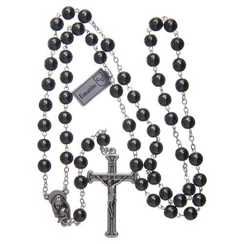 Chapelet en hématite avec croix argentée 4