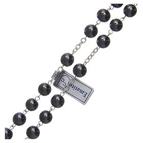 Rosary in hematite with silver cross s3