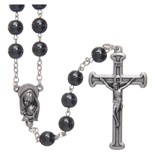 Rosary in hematite with silver cross 1