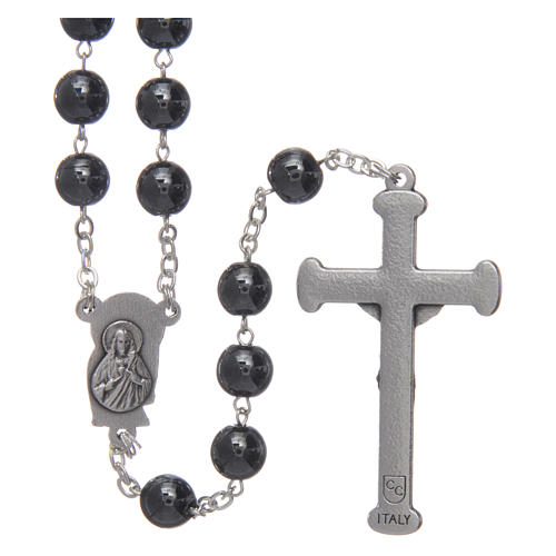 Rosary in hematite with silver cross 2