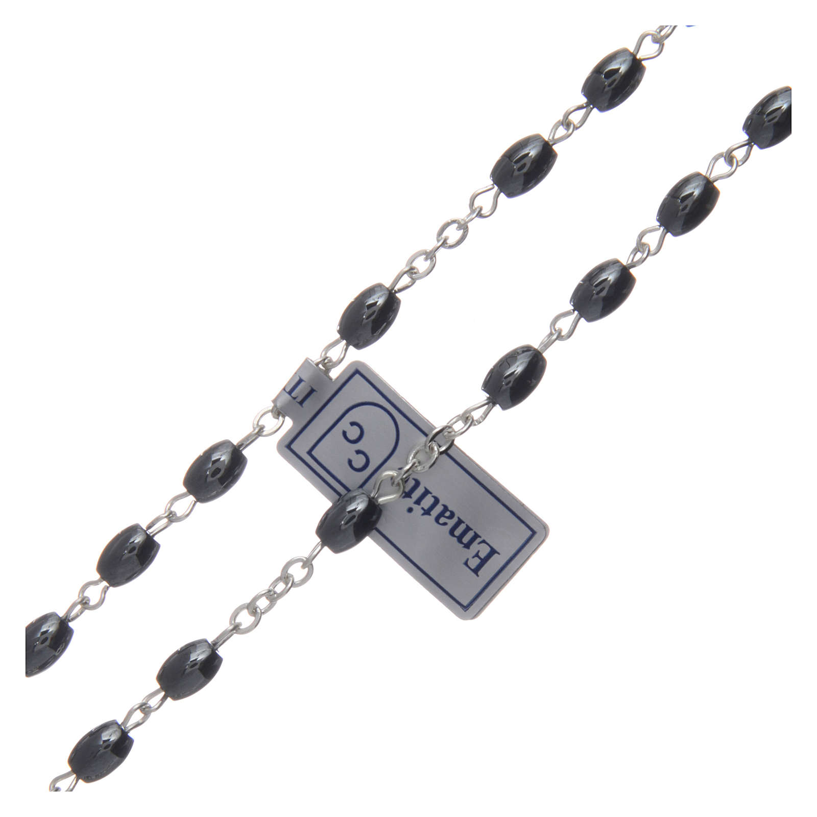 Rosary in hematite stone with silver cross and oval grains 4