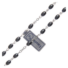 Rosary in hematite stone with silver cross and oval grains s3