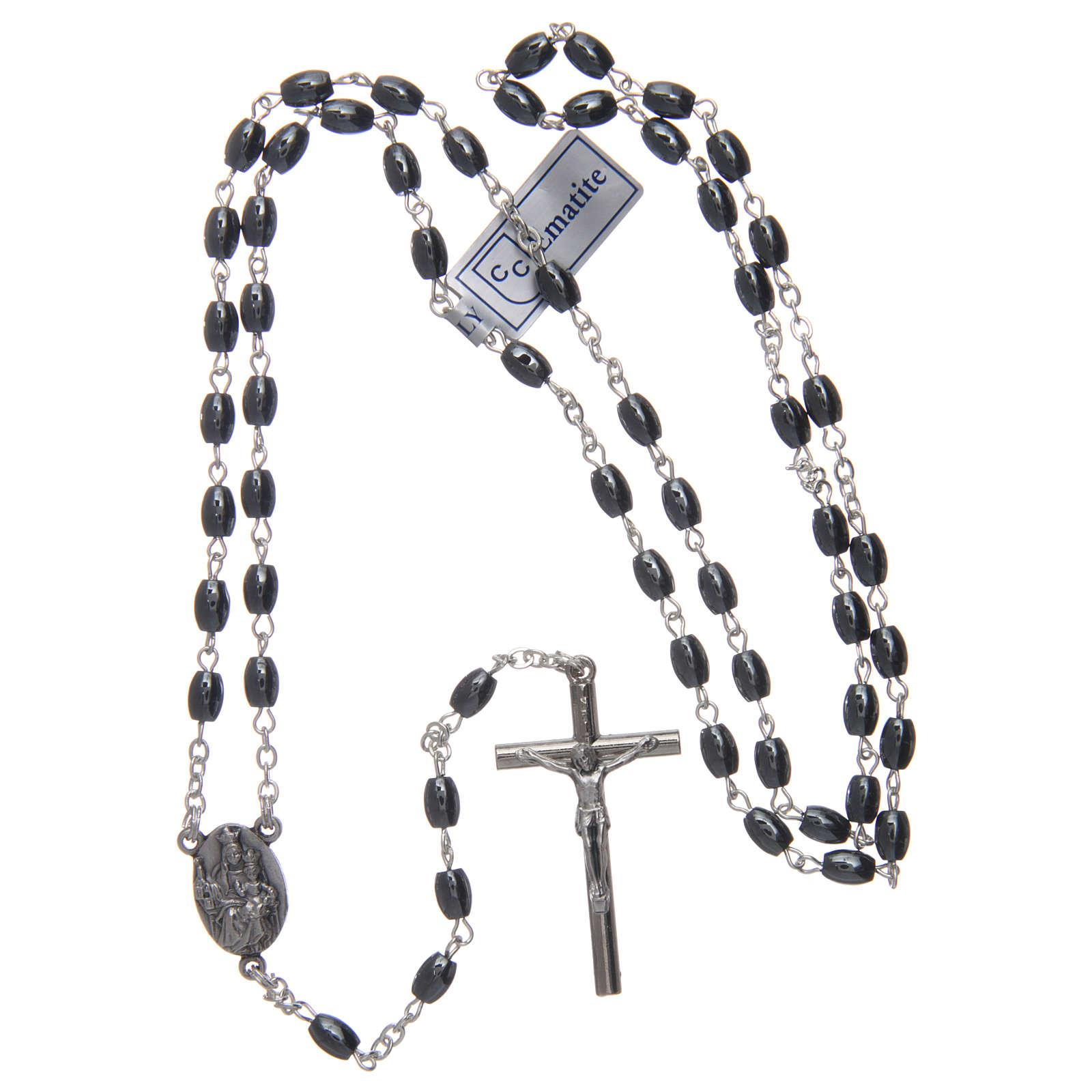 Rosario in pietra Ematite con Croce argentata grani ovali 4