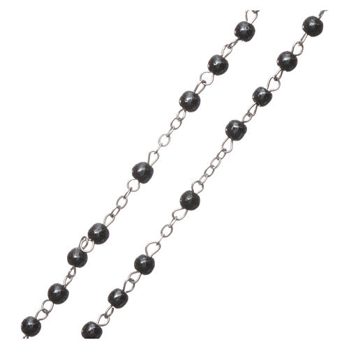 Rosary real hematite with round beads 2 mm 3