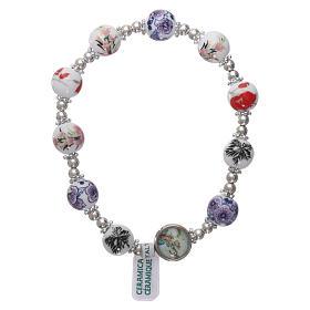 Chapelets en pierre: Bracelet dizainier élastique grains céramique ronds 8 mm médaille Vierge
