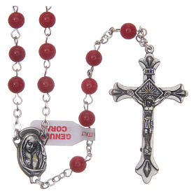 Rosary with grains in genuine coral 3 mm s1