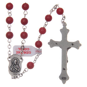 Rosary with grains in genuine coral 3 mm s2