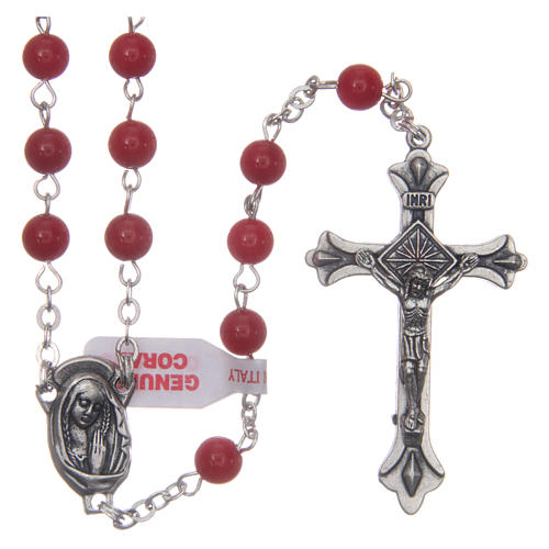 Rosary with grains in genuine coral 3 mm 1