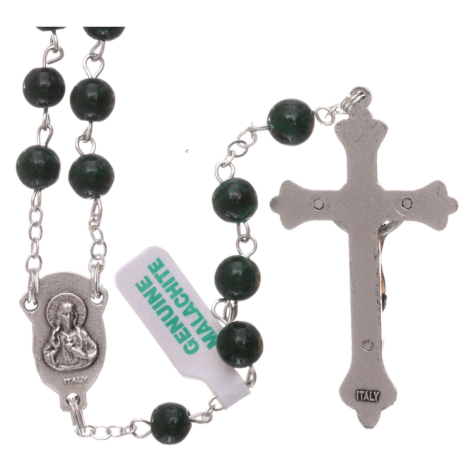 Rosary made of real green malachite 6 mm 4