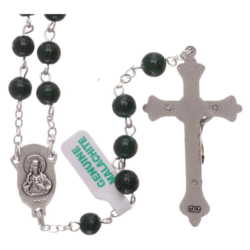 Rosary made of real green malachite 6 mm 2