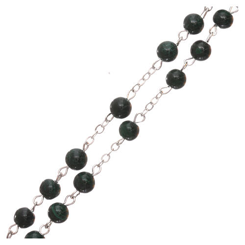 Rosary made of real green malachite 6 mm 3