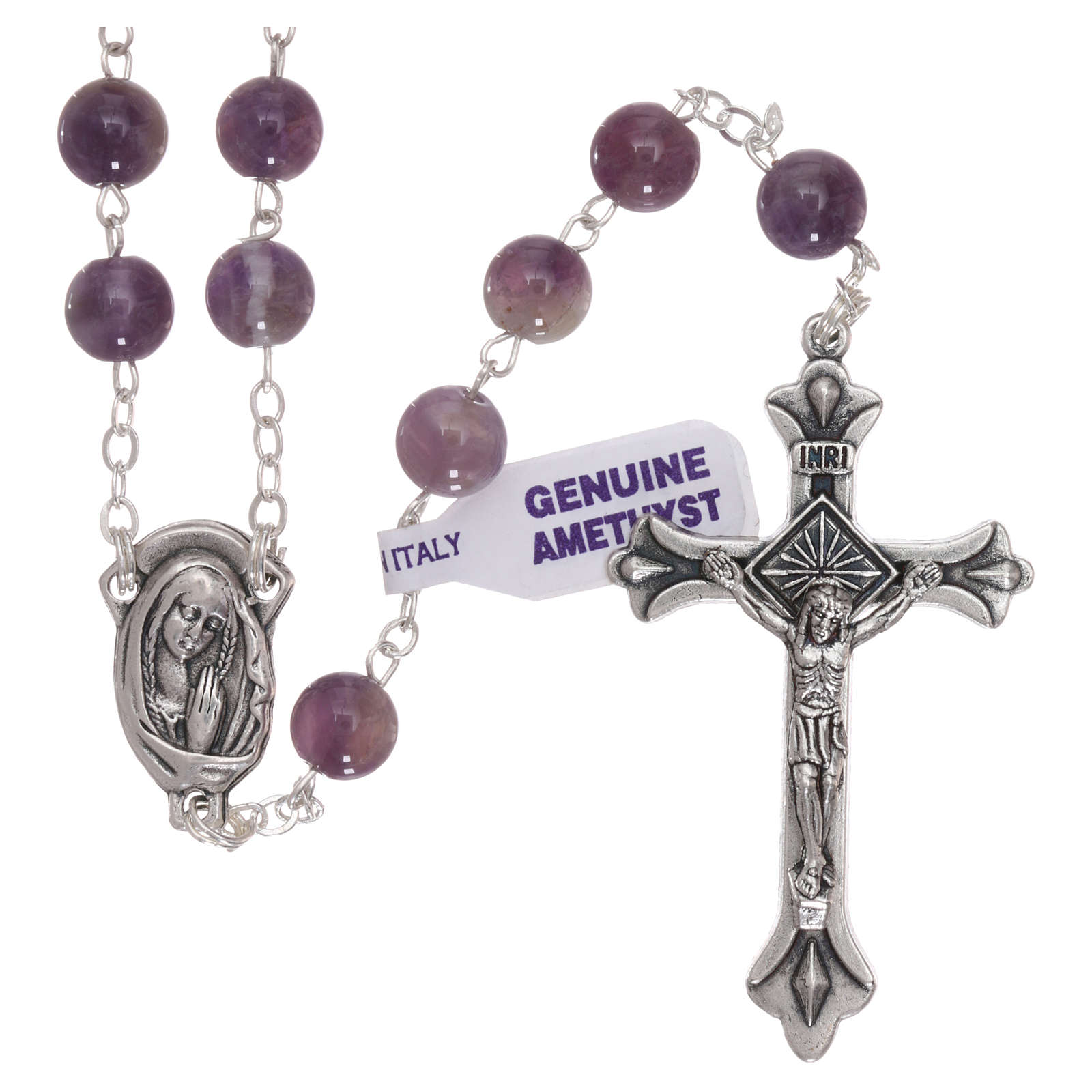 Rosary with grains in genuine amethyst 6 mm 4
