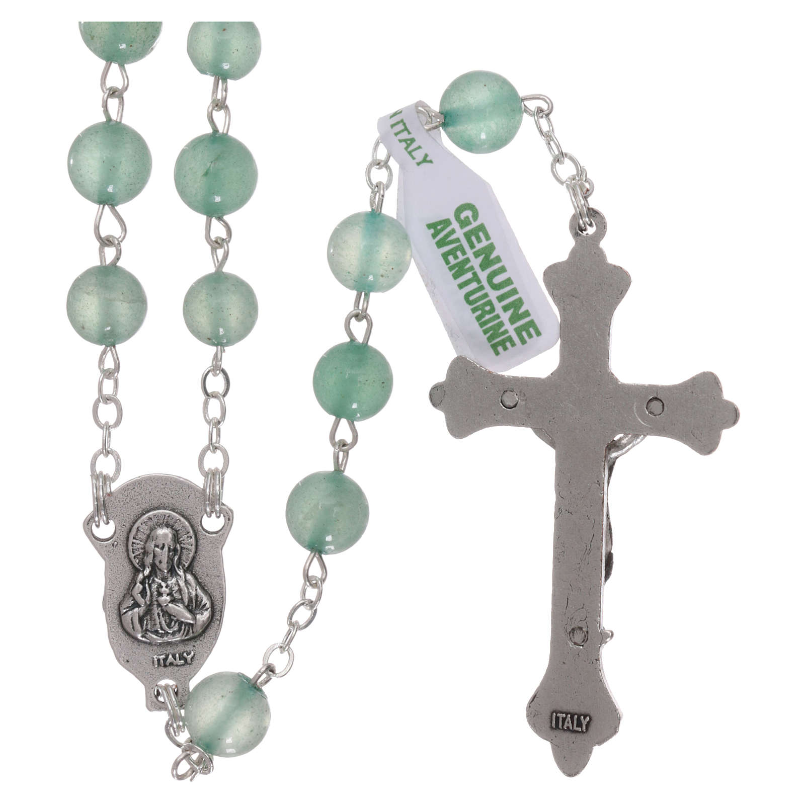 Rosario di pietra avventurina, perle di diametro mm 6 4